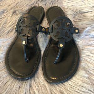 Tory Burch Miller Logo Leather Sandal Black 12